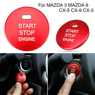 Aluminum Engine Start Stop Button Cover Cap Trim For MAZDA 3 6 CX-5 CX-9 CX-3