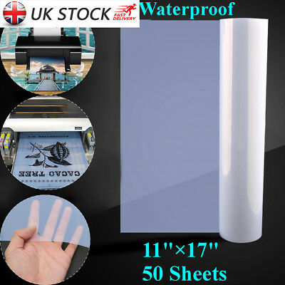 50 Sheets 11x17'' PET Waterproof Inkjet Transparency Film for Screen Printing UK