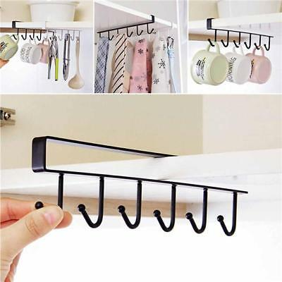 6 Hook Cup Holder Hang Kitchen Cabinet Under Shelf Storage Rack Organizer Hook B