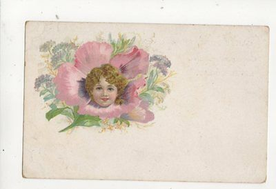 Child Flower Vintage U/B Chromo Litho Greetings Postcard 180b