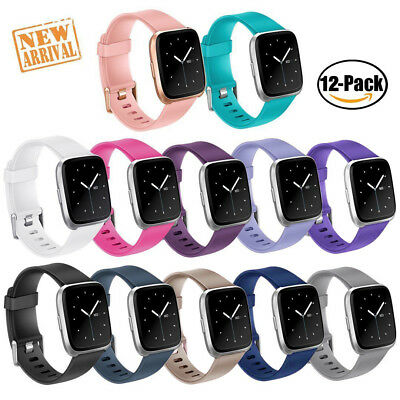 12-Pack Silicone Strap Classic Sport Bands with Secure Buckle for Fitbit Versa