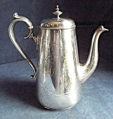 GOOD Large VICTORIAN ~ SILVER Plated ~  'BIRDS' Engraved TEAPOT ~ c1890