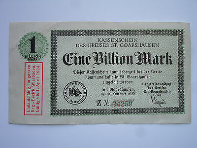 Notgeld - Kassenschein des Kreises St. Goarshausen, 1 Billion Mark, 1923