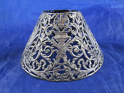 Antique Gorham Silverplate Reticulated Candle Stick Shade Lampshade