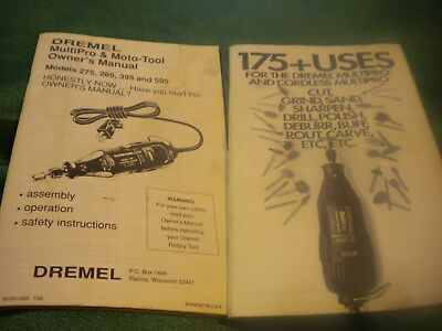 Dremel tool owner's manual for models 275, 285, 395 and 595