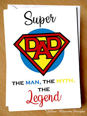 Superhero Card For Dad Fathers Day Card Super Dad Birthday Card