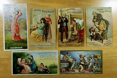 6 Victorian Trade Cards ALL AYER'S PRODUCTS c1880's Sarsaparilla ADVERTISING