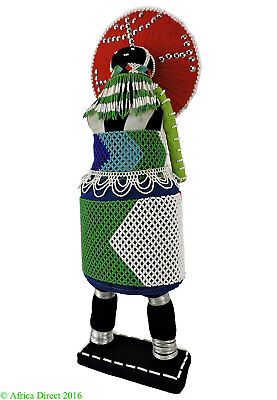 Zulu Beaded Doll with Red Headdress South Africa  22 Inch