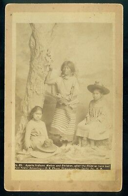 Vintage Apache Indian Mother & Girls by D. B. Chase of Santa Fe, NM c. 1880s