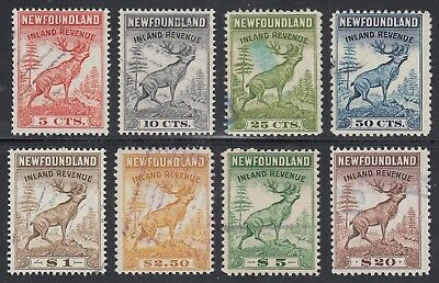 Newfoundland Inland Revenues Set of 8 F-VF Used (Perf Measurements included)