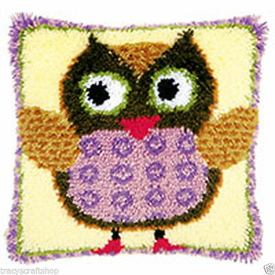 Miss Owl  Latch Hook cushion front kit by Vervaco 40x40cm latch hook canvas