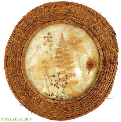 Hanging Decorative Plate Glass Basket Pine Dried Leaves