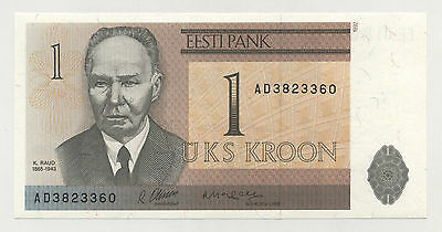 Estonia 1 Kroon 1992 Pick 69 UNC Uncirculated Banknote Serial AD