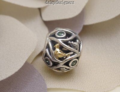 NEW Authentic PANDORA Silver 14k Gold BIRDS OF A FEATHER Charm 791213CZN RETIRED