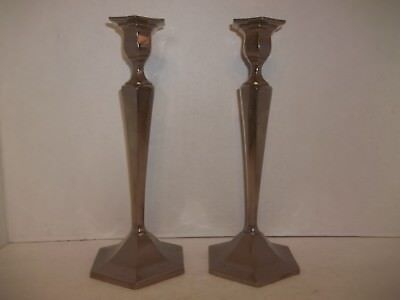 "Pair Antique Heavy Pewter 10.5""T Candlesticks Candle Holders Hexagon Traditional"