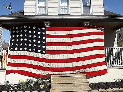 Huge Ww2 48 Star Valley Forge Flag Co Sewn Woolen Us Naval Ensign #6 9Ft X 17Ft