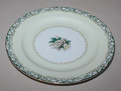 4 Salad Plates Noritake Mystery #14 White Rose Leafy Band Cream Gold Accents