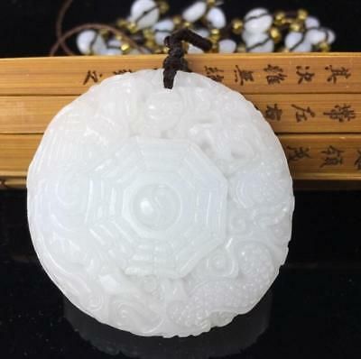 Fine Jewelry Natural Afghan White Jade Dragon Phoenix Pendant Necklace
