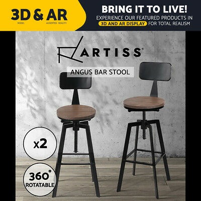 Artiss 2x Vintage Bar Stools Retro Kitchen Bar Stool Industrial Chairs Rustic