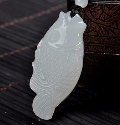 Natural White fish wealth luck Carved yu amulet FUGUIYOUYU propitious pendant