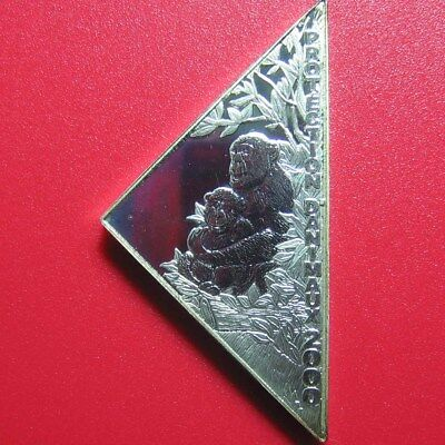 2000 Congo 10 Francs Silver Proof Monkey Mother & Baby Triangular Lion Rare Coin