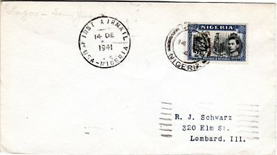 Nigeria 1941, 2/6d on 1st flight cover from Lagos to San Juan, Puerto Rico, USA