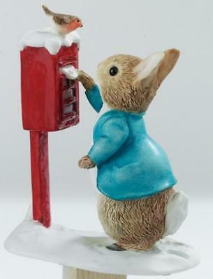 Beatrix Potter Peter Rabbit Posting Letter Winter Figurine. A3486