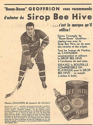 1957 Montreal Canadiens Boom-Boom Geoffrion Hockey Player Original Ad In French