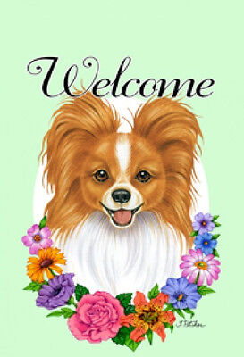 Large Indoor/Outdoor Welcome Flag (Flowers) - Red & White Papillon 63064