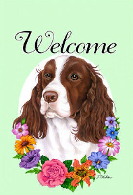 Large Indoor/Outdoor Welcome Flag (Flowers) - English Springer Spaniel 63031