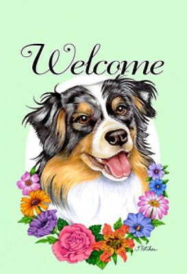 Large Indoor/Outdoor Welcome Flag (Flowers) - Australian Shepherd 63059