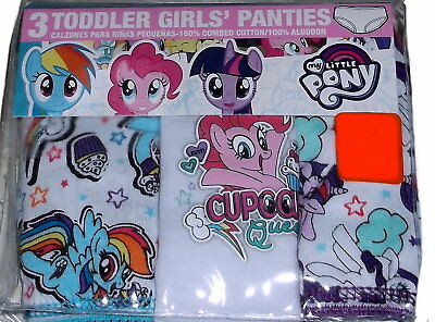 NEW Toddler Girls My Little Pony 3 Pack Cotton Panties Underwear Size 4T