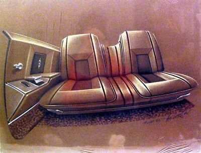 c. 1967 Oldsmobile Interior Automobile ORIGINAL Styling Art Painting md66