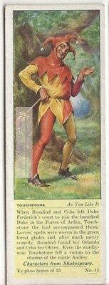 Touchstone From As You Like It Shakespeares Play Jester c80 Y/O Trade Ad Card