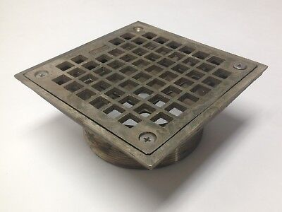 "Smith Co 01803 Brass Drain Cover Strainer Square 5"" Face Threaded Insert Used"