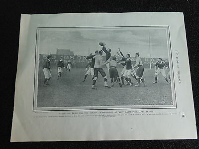"""DURHAM v MIDDLESEX Rugby Union at Hartlepool 1905 Approx 12""""x 9"""" ORIGINAL PRINT"""