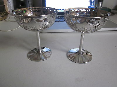 Rare Pair Art Nouveau Sterling Silver Overlay Compotes, Organic Grapes + Leaves