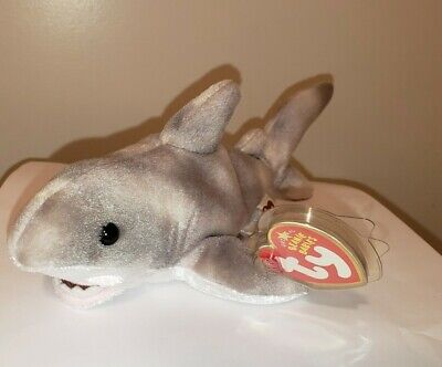 Ty Beanie Baby ~ FINN the Grey / Gray Shark ~ MINT with MINT TAGS ~ RETIRED