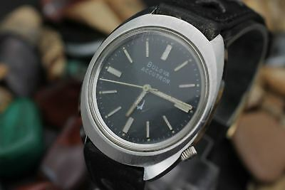 C. 1976 ACCUTRON By BULOVA 218 Stainless Steel Blue Dial Men's Dress Watch