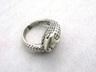 Vintage Chinese Handmade Tibetan Miao Silver Totem Ring Snake W/ Ball In Mouth