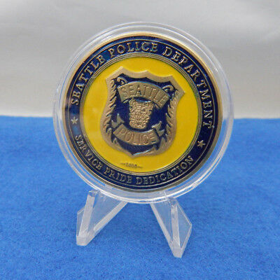 """City Of Seattle Police Department Challenge Coin St. Michael 1.50""""-W/ Capsule"""