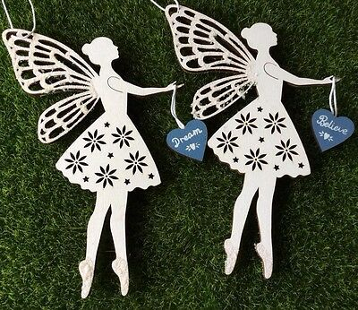 White Wooden Sparkly Hanging Fairy Decoration Dream or Believe Fairy Heart