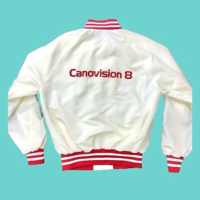 Vintage Canon Video Satin Jacket Canovision Off White Red Large USA 80s