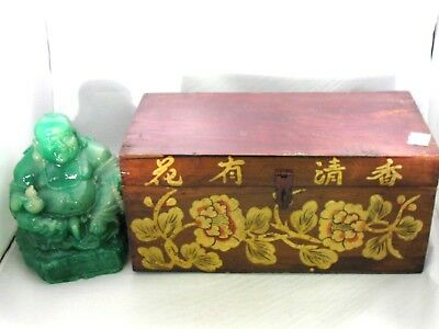 Vtg Antique Chinese Asian Small Decorated Wood Chest Trunk Box Flowers & Writing