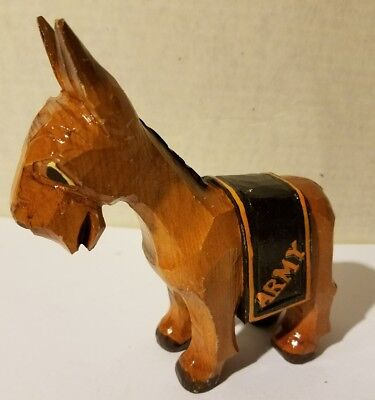 Vintage Anri West Point Black Knights Army Carved Wood Mascot Figure Italy