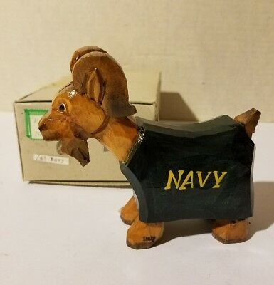 Vintage Anri Navy Naval Academy Annapolis Carved Wood Mascot Figure w/Box goat