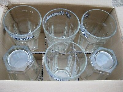 New Old Stock 6 pcs of Hoegaarden Beer Glasses 50cl Thick Heavy Glass Ale