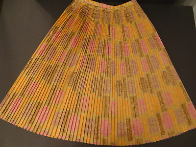 Vtg 60s Cannady Creations-Hollywood Colorful Lt-wt Knife-Pleat Spring Skirt-S/M