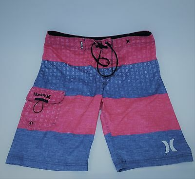 318ae709aa HURLEY BOARDSHORTS RED Pink Blue Surf Swim Trunks Board Shorts 30 ...