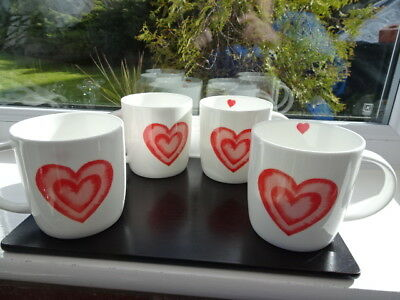 Laura Ashley Set 4 Heart Mugs BNWT 1st Quality